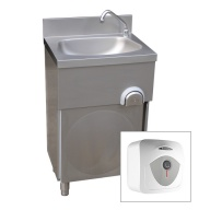 Floor Standing Leg Operated Stainless Steel Hand Basin With Water Heater